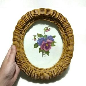Other - Wicker Frame Floral Print Painting Wall Art
